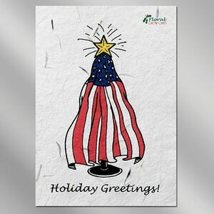 Flag Floral Seed Paper Holiday Card w/o Inside Message