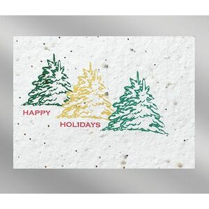 Trees Floral Seed Paper Holiday Card w/o Inside Message