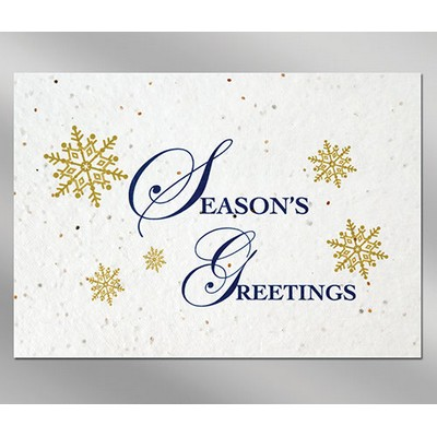 Snowflakes Floral Seed Paper Holiday Card w/o Inside Message