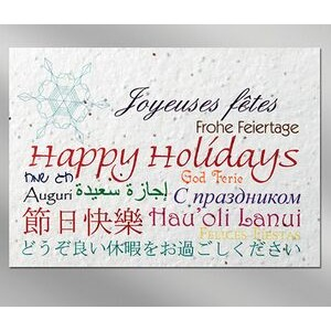 Languages Floral Seed Paper Holiday Card w/o Inside Message